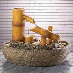 Fontana in bambù a stile zen