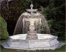 Cascata d'acqua proveniente da una fontana da esterno